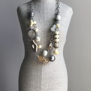 Silver & Bead Double Layered Necklace